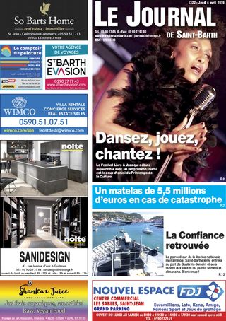 Journal de Saint-Barth N°1322 du 04/04/2019